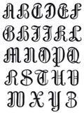 Volledig alfabet in ronde serif karakters stock illustratie
