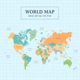 Volledig de Kleuren Hoog Detail van de wereldkaart Stock Afbeelding