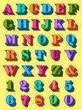 Volledig die alfabet in kleurrijke in hoofdletters wordt geplaatst Royalty-vrije Stock Afbeelding