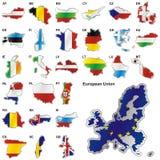 Volledig editable vectorillustratie van kaarten van de EU Royalty-vrije Stock Afbeeldingen