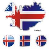 Volledig editable vectorvlag van IJsland Stock Foto's