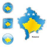 Volledig editable vectorvlag van Kosovo Royalty-vrije Stock Fotografie