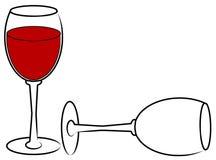 Volledig en de lege glazen van de wijn - Stock Afbeeldingen