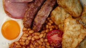 Volledig Engels ontbijt stock video