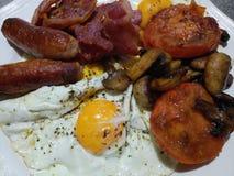 Volledig Engels ontbijt met de paddestoelen en de tomaten van het worstenbacon Royalty-vrije Stock Foto