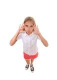 Volledig geïsoleerd het lichaamsportret die van de pret hoog hoek van tiener een grappig gezicht maken, Stock Afbeelding