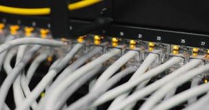 Volledig geladen netwerkmedia convertors en ethernet schakelaars stock video