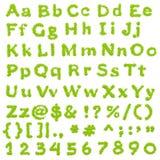 Volledig Groen Alfabet Eco Royalty-vrije Stock Afbeeldingen