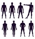 Volledig lengte voor, achtersilhouet van de mens Stock Fotografie