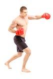 Volledig lengteportret van een atleet met bokshandschoenen Royalty-vrije Stock Foto's