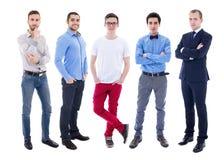 Volledig lengteportret van jonge knappe mensen die op wit worden geïsoleerd Royalty-vrije Stock Foto's