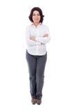 Volledig lengteportret van rijpe bedrijfsdievrouw op wit wordt geïsoleerd Stock Foto