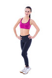 Volledig lengteportret van slanke die vrouw in sportenslijtage op wh wordt geïsoleerd stock foto