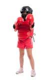 Volledig lichaam van een jong boksermeisje met materiaal Royalty-vrije Stock Fotografie