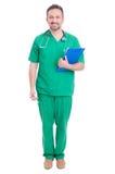 Volledig lichaam van trotse arts of dokter status stock afbeeldingen