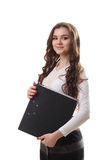Volledig lichaamsportret van gelukkige glimlachende bedrijfsvrouw met zwarte FO Stock Fotografie