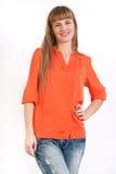 Volledig lichaamsportret van gelukkige glimlachende jonge bedrijfsvrouw, isolat Royalty-vrije Stock Foto's