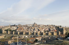 Volledig - mening van de stad van Avila, Spanje. Royalty-vrije Stock Foto's