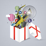 Volledig open giftdoos Vector illustratie vector illustratie