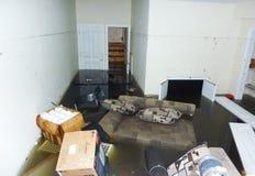 Volledig overstroomde kelderverdiepingsvolgende dag na Orkaan Zandig in Staten Island Royalty-vrije Stock Foto's