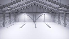 Volledig wit leeg pakhuis met concrete vloer het 3d teruggeven Stock Foto