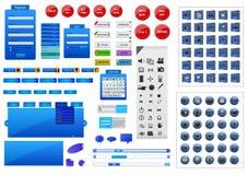 Volledige blauwe het elementenreeks van het websiteontwerp Stock Foto's