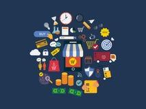 Volledige cirkel van marktonderzoek, reclame Stock Foto