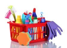 Volledige doos het schoonmaken van levering en handschoenen stock afbeelding