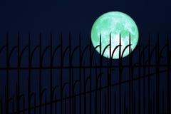 volledige eimaan terug op de omheining van het silhouetijzer op nachthemel royalty-vrije stock foto's