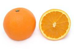 Volledige en Halve Sinaasappel Royalty-vrije Stock Foto's