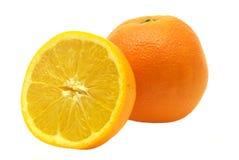 Volledige en halve sinaasappel Stock Afbeeldingen