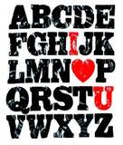 Volledige Engelse alfabet grunge stijl Royalty-vrije Stock Foto