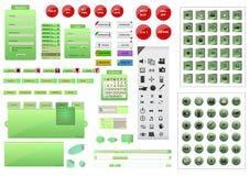 Volledige groene het elementenreeks van het websiteontwerp Stock Foto's
