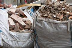 Volledige het puinzakken van het bouwafval Stock Foto