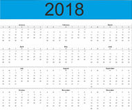 2018 Volledige Jaarkalender vector illustratie