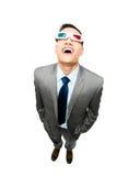 Volledige lengte Aziatische zakenman die 3d witte bac van de glazenfilm dragen Stock Afbeelding