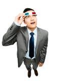 Volledige lengte Aziatische zakenman die 3d witte bac van de glazenfilm dragen Royalty-vrije Stock Foto