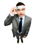 Volledige lengte Aziatische zakenman die 3d witte bac van de glazenfilm dragen Royalty-vrije Stock Afbeelding