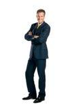 Volledige lengte glimlachende zakenman Royalty-vrije Stock Foto's