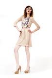 Volledige lengte van Helder Betoverend Meisje met Trendy Glazen. Creativiteit Royalty-vrije Stock Foto