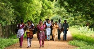 Volledige lengte van multi-etnische vrienden die op campusweg lopen Royalty-vrije Stock Foto
