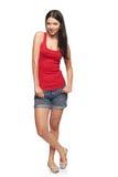 Volledige lichaamsvrouw ontspannen status Stock Foto's