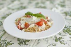 Volledige maaltijd - spaghetti met tomaat en kaas stock foto