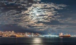 Volledige maan-Kerstmis nacht Stock Afbeeldingen