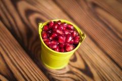 Volledige metaal groene emmer rode rijpe verse zaden van granaatappel stock afbeeldingen