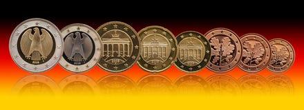 Volledige reeks euro muntstukken Europa Duitsland, gradi?ntachtergrond stock afbeelding