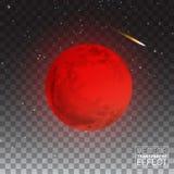 Volledige Rode Gedetailleerd Maan Realistisch geïsoleerd op transparante achtergrond Vector illustratie stock afbeelding