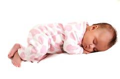 Volledige vreedzame lichaamsfoto van pasgeboren baby en slaap Stock Foto's