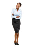 Volledige whit van de lengte Afrikaanse Amerikaanse Aantrekkelijke jonge onderneemster Royalty-vrije Stock Foto's