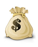 Volledige zak met geïsoleerden dollars Stock Fotografie